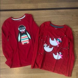 Two long sleeve holiday shirts - girls size 7/8